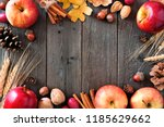 autumn frame of apples and fall ... | Shutterstock . vector #1185629662