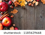 autumn corner border of apples... | Shutterstock . vector #1185629668