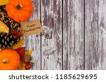 happy thanksgiving tag with... | Shutterstock . vector #1185629695