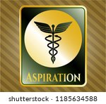 gold emblem or badge with... | Shutterstock .eps vector #1185634588