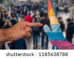 finger pointing to a peaceful... | Shutterstock . vector #1185638788