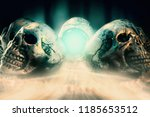view of crystal ball and skull... | Shutterstock . vector #1185653512