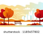 autumn city park with town... | Shutterstock .eps vector #1185657802