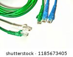 blue and green lan cable on the ... | Shutterstock . vector #1185673405