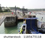 arrival and unloading car ferry ... | Shutterstock . vector #1185675118