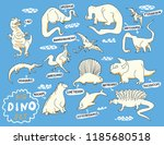 dino characters. cute funny... | Shutterstock .eps vector #1185680518