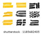 set of yellow  black tapes on... | Shutterstock . vector #1185682405