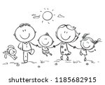 happy family with two children... | Shutterstock .eps vector #1185682915