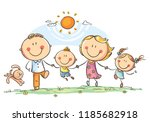 happy family with two children... | Shutterstock .eps vector #1185682918
