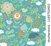 doodle flower pattern | Shutterstock .eps vector #1185703402