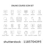 line icons set. online course... | Shutterstock .eps vector #1185704395
