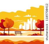 autumn landscape. city park... | Shutterstock .eps vector #1185708412