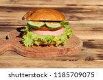 fresh delicious homemade burger ...   Shutterstock . vector #1185709075