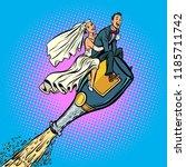 bride and groom wedding. flying ... | Shutterstock .eps vector #1185711742