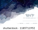 magic night dark blue sky with... | Shutterstock .eps vector #1185711952