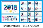 wall monthly calendar template... | Shutterstock .eps vector #1185720025