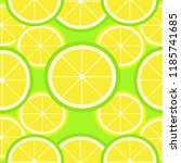 lemon pattern  vector... | Shutterstock .eps vector #1185741685
