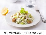 traditional waldorf salad with... | Shutterstock . vector #1185755278