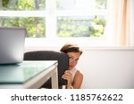frightened young businesswoman... | Shutterstock . vector #1185762622
