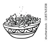 bowl of salad hand drawn... | Shutterstock .eps vector #1185765358