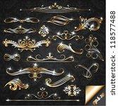 Set of golden ornate design elements