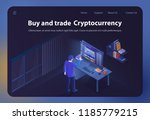 buy and trade cryptocurrency....   Shutterstock .eps vector #1185779215