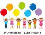 balloon and children | Shutterstock . vector #1185790045