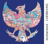 beautiful indonesia in garuda... | Shutterstock .eps vector #1185801442