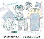 newborn baby girl fashion... | Shutterstock .eps vector #1185802135