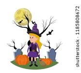 girl with witch costume in the... | Shutterstock .eps vector #1185808672