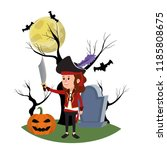 girl with pirate costume and... | Shutterstock .eps vector #1185808675
