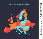 political map of europe... | Shutterstock .eps vector #1185828238
