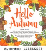 doodle hello autumn leaves... | Shutterstock .eps vector #1185832375