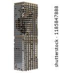 ruined skyscraper isolated on... | Shutterstock . vector #1185847888