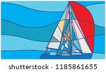 abstract sailboat with red sail ... | Shutterstock .eps vector #1185861655