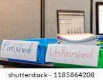 pile of unfinished documents on ... | Shutterstock . vector #1185864208