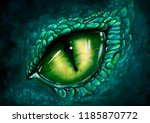 Stock photo digital eye of dragon illustration dinosaur game concept background 1185870772