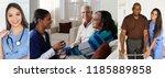 nurses taking care of senior... | Shutterstock . vector #1185889858