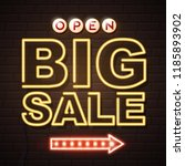 neon sign big sale open on... | Shutterstock .eps vector #1185893902