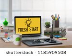 office workplace with mockup... | Shutterstock . vector #1185909508