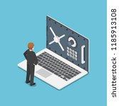 flat 3d isometric businessman... | Shutterstock .eps vector #1185913108