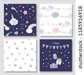 unicorn and stars cartoon... | Shutterstock .eps vector #1185916918
