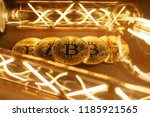 btc among avid bulbs. the light ... | Shutterstock . vector #1185921565