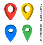 set of colorful pins realistic... | Shutterstock .eps vector #1185923932