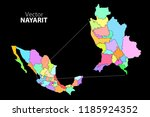 political map of mexico. colors | Shutterstock .eps vector #1185924352