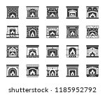 fireplace silhouette icons set. ... | Shutterstock .eps vector #1185952792