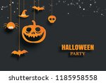 halloween orange paper hanging... | Shutterstock .eps vector #1185958558