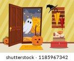 halloween house interior. cat... | Shutterstock .eps vector #1185967342
