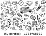 school and education doodles... | Shutterstock . vector #1185968932