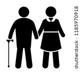 portrait of old couple holding... | Shutterstock .eps vector #1185970918